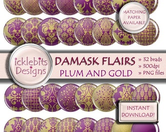"Purple and Gold Foil Damask Digital Flairs, ""PLUM & GOLD DAMASK"" elements, Purple Scrapbook brads, Purple and Gold flairs. Design #96"