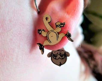 Upside down monkey earrings, monkey jewelry
