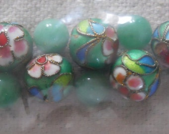 Jade Green Floral and Solid Beads
