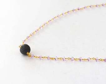Essential Oil Necklace Diffuser Necklace Aromatherapy NecklacePersonal Diffuser Gold Necklace Amethyst Gemstones Lava Rock Women Necklace