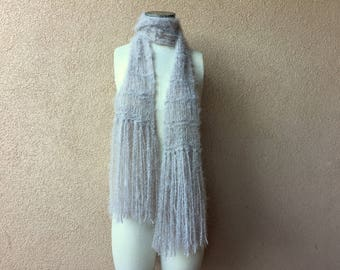 Long beige scarf knit accessories taupe scarf with fringe 6 feet long scarf. Light brown scarf