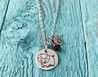 Paisley the pig, Pig, Silver Necklace, Charm Necklace, Pig Jewelry, Pig Gift, Pig Necklace, Pig Charm, Piggy, Pig Farmer. Silver Pig, Swine