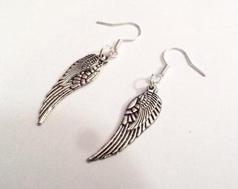 Angel Wings steampunk silvery dangle earrings