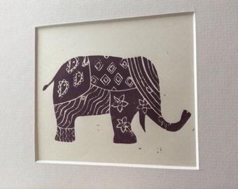 Linocut Elephant Print