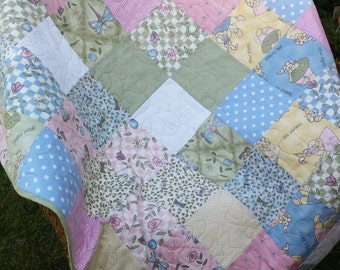 Handmade patchwork quilt - fabrics by Sharon Reynolds - The Hatfields, pastels in pinks, blues, greens and yellows - 36 inches square