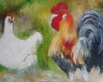 The rooster and his hen made Al oil knife on linen canvas