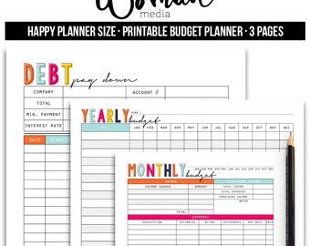 Happy Planner Budget Planner, Financial planner, Bill planner, Cash Tracker, Money Management, Bill Organize, Budget planner book