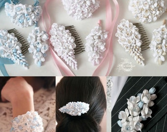 bride jewellery, wedding hair accessories, bride corsage, ivory wedding, bridesmaids corsage, hair accessories, blue wedding, pink wedding