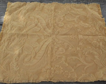 Rustic Gold Brocade Fabric Placemat, Wedding Table Decor, Anniversary Table Decor, Handmade Fringed Placemat, Shabby Chic Tatty Placemat