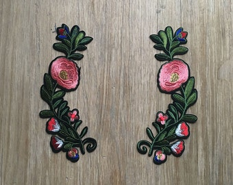 Embroidered Flower Banner Patches - 2 Iron on patches - Gucci Style - FREE SHIPPING