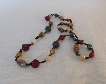 Multicoloured beaded vintage necklace
