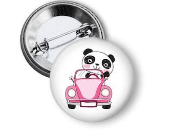 Cute panda bear 2.25 inch Pinback button custom pin back buttons panda party favors pin back buttons Panda pin badge birthday favors