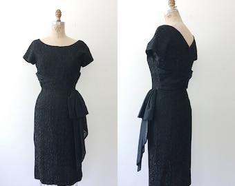 1950s dress / vintage cocktail dress / Evening Trellis dress