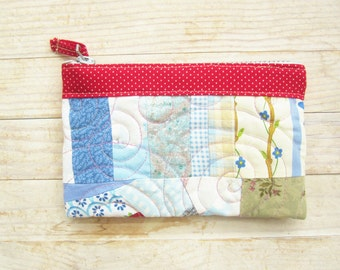 Zipper pouch cosmetic bag mobile cell phone case cover make-up pouch wallet crazy patchwork blue red pink green quilted wadded flower rose