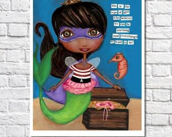 African American Mermaid Art Superhero Dark Skin Princess Fairy Pirate Ballerina Motivational Print Black Girl Artwork Little Kid Room Art
