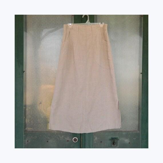 FLAX Designs A-Line Skirt -S- Natural Linen