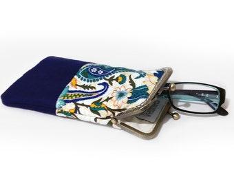 Sunglasses Case, Gift for Her, Eyeglasses Case, Single Glasses Case, Navy Blue fabric, Kiss Lock Antique Bronze Frame