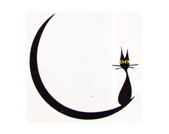 Temporary tattoos Cat Moon - 2x2 inch