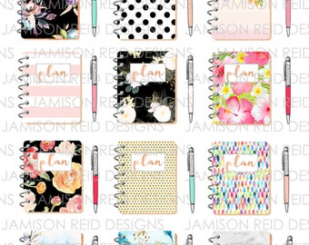 Patterned planner and Pen Gem stickers (12 of each)  |  Erin Condren | Happy Planner | Kikki-k | Filofax | Midori