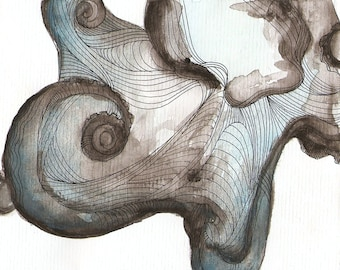 "Octopus Painting - Waterbaby  - Fine Art Giclee Print of 14""x11"" Blue and Grey Watercolor Painting"
