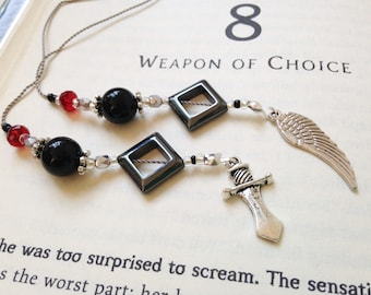 Shadowhunters Mortal Instruments City of Bones Bookmark Fantasy Beaded Book Thong Black Red  Silver Dagger and Clockwork Angel Wing Charms