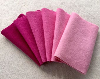 """Hand Dyed Felted Wool Gradation, RASPBERRY, Value Gradient in Fuchsia and Cool Pink, 6 pcs. 6.5"""" x 16"""" Each"""