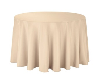 """108 inch Round Polyester Tablecloth - 108"""" Beige Tablecloth 100% Polyester Wedding Table Linen"""
