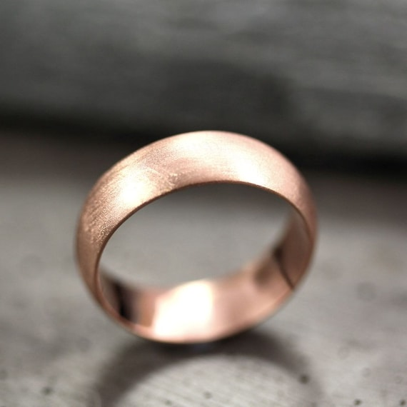 Perfect Mens Wedding Band 6mm Wide Brushed Half Round 14k Recycled EX01