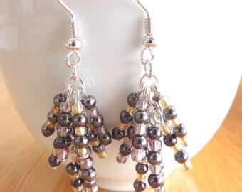 Beaded dangle long earrings