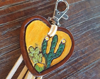 Saguaro Cactus Purse Charm - Hand Tooled Leather - Hand Painted - Heart - Sunshine -Southwestern - Backpack - Luggage Tag - Fringe