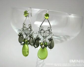 Peridot, jade and pyrite earrings - green wire wrapped chandelier earrings, prong set gemstones, teardrop shape sterling silver swirls OOAK