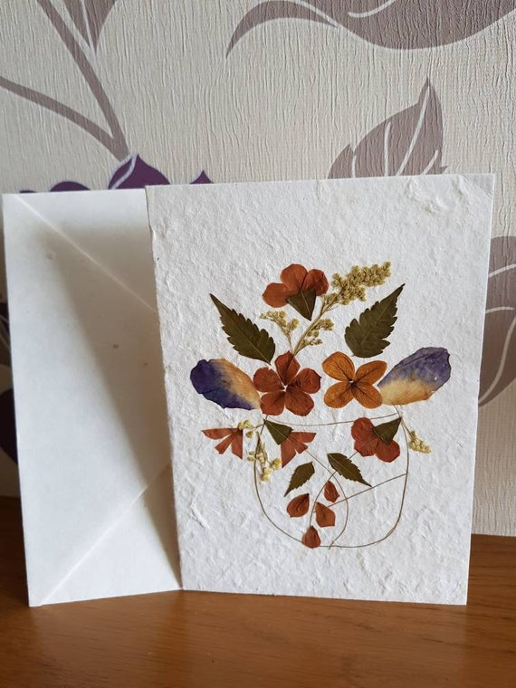 Real Pressed Flower blank greeting card Autumn Basket design