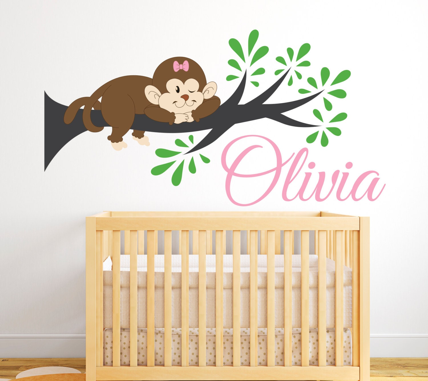 Monkey Name Wall Decal Monkey Wall Decal Girl Name Decal