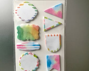 WATERCOLOR STICKY NOTES 160pc Pastel Rainbow Post It Note Sticker Set Page Flags Stickers Flag Planners Embellishments lot Planner Dashboard