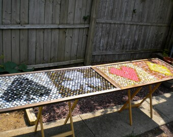 Bottle Cap Art - Beer Pong Table Top - Spades Clubs Hearts Diamonds