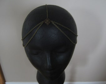 Boho bollywood chain head piece head band antique bronze with diamond filagree detail