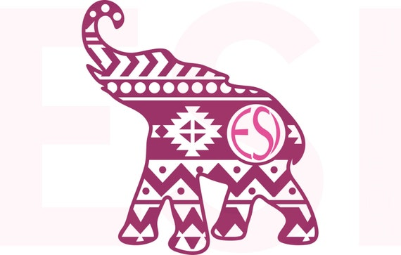 Elephant Monogram Svg Dxf Eps Vinyl Cut Files For Use With