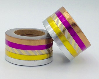 Rainbow duct tape 2 rolls 15 ft each diy art project supplies paper pack of 5 copper gold silver thin foil washi tape rolls planner supply gift decoration scrapbooking planner supplies light pink gold aloadofball Choice Image