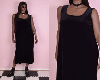 90s Black Velvet Maxi Dress/ US 16/ 1990s