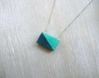 Simple geometric necklace, Dainty green necklace, Minimalist necklace