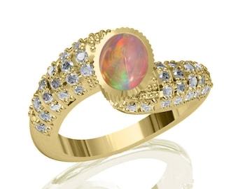 8x6mm Australian Black Opal Ring w/ 0.84ct Diamond in 14K or 18K Gold 1.84TCW Sku: R2390