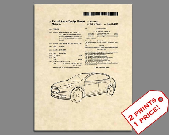 Patent prints tesla model s patent art original tesla car malvernweather Images