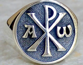 Alpha and Omega Chi-rho Christian 3D Ring Solid Sterling Silver 925