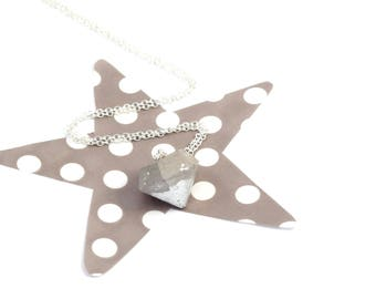 Concrete silver and silver plated or gold diamond necklace