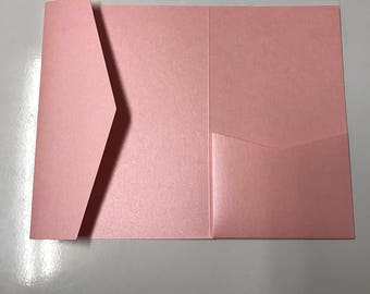 SAMPLE 5x7 Pocket for Wedding Invitations in Metallic Pink, Rose, Bubblegum, Cotton Candy