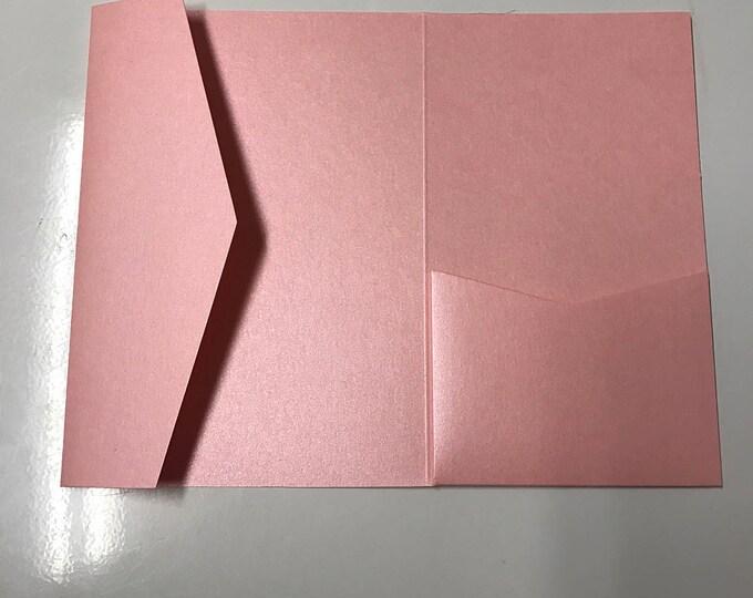 SAMPLE 5x7 Pocket for Wedding Invitations in Metallic Pink, Rose, Bubblegum, Cotton Candy