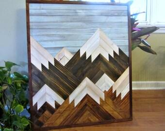 Reclaimed Wood Art |  Salvaged Wood Decor | Wood Wall Art | Mountain Scene Art | Mountain Landscape | Reclaimed Wood Decor | Rustic Wood Art