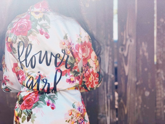 Flower Girl Robe | Custom Floral Robes | Floral Bridesmaid Robes