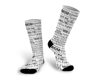 Mom Life, Mother's Day Gift, Custom Socks, Socks, Personalized Socks, Picture Socks, Photo Gift, Customized Photo Socks --62180-SOX1-603