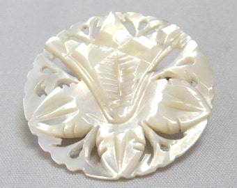 Hand Carved Mother of Pearl MOP Brooch Round